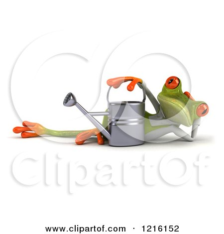 Clipart of a 3d Green Springer Frog Reclined in a Gardening Apron by a Watering Can - Royalty Free Vector Illustration by Julos