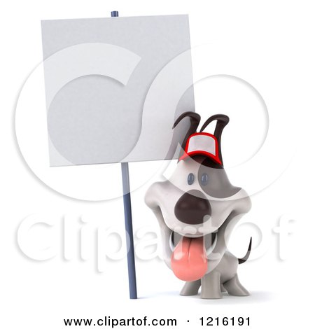 Clipart of a 3d Panting Jack Russell Terrier Dog Wearing a Hat Under a Sign - Royalty Free Vector Illustration by Julos