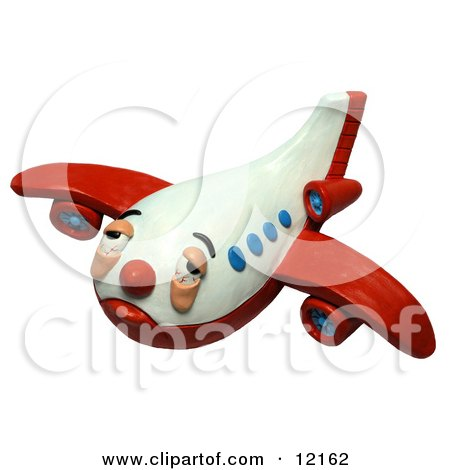 Clay Sculpture Clipart Sick And Tired Airplane - Royalty Free 3d Illustration  by Amy Vangsgard
