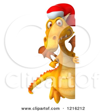 b6ae53448a99d Clipart of a 3d Yellow Christmas Dragon Wearing a Santa Hat by a Sign -  Royalty