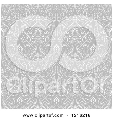 Clipart of a Grayscale Seamless Islamic Motif Pattern - Royalty Free Vector Illustration by AtStockIllustration