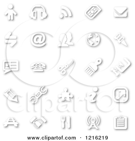 Clipart of White Minimalist Icons with Shadows 2 - Royalty Free Vector Illustration by AtStockIllustration