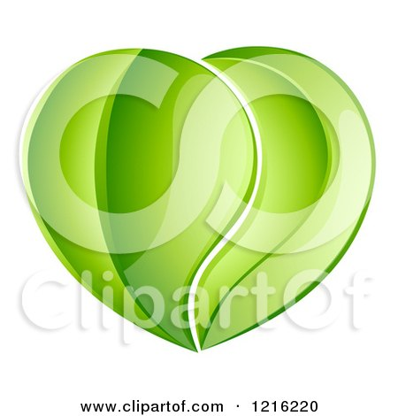 Clipart of a Heart Made of Reflective Green Leaves - Royalty Free Vector Illustration by AtStockIllustration