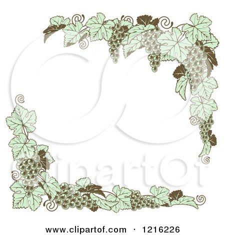 Clipart of Vintage Green Grape Vine Corner Borders - Royalty Free Vector Illustration by AtStockIllustration