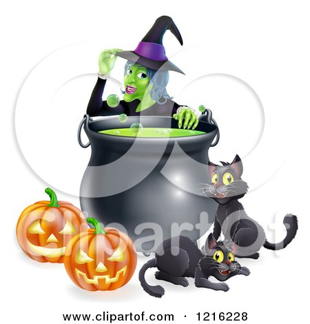 Clipart of a Witch Touching Her Hat Behind a Boiling Halloween Cauldron Black Cats and Jackolanterns - Royalty Free Vector Illustration by AtStockIllustration