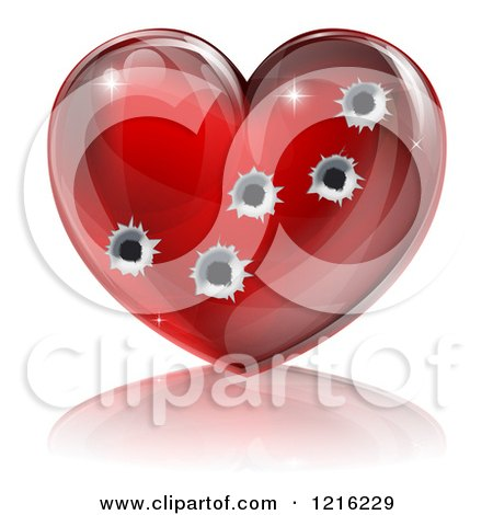 Clipart of a 3d Glossy Red Heart with Bullet Holes - Royalty Free Vector Illustration by AtStockIllustration