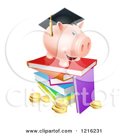 Clipart of a Graduate Piggy Bank on a Pile of Books over Coins - Royalty Free Vector Illustration by AtStockIllustration