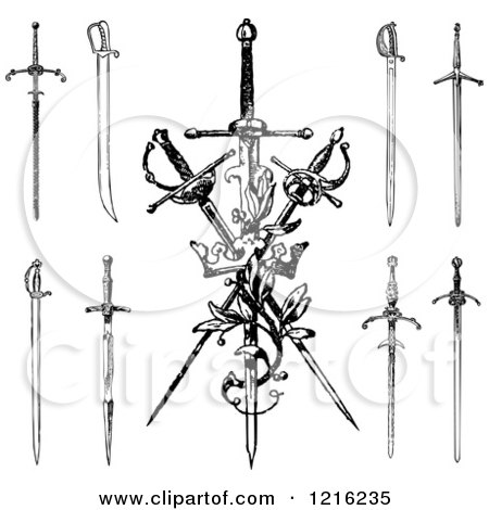 Clipart of Black and White Swords and a Crown - Royalty Free Vector Illustration by BestVector