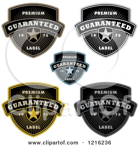 Clipart of Quality Shields with Stars Rays and Sample Text - Royalty Free Vector Illustration by BestVector