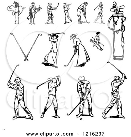 Clipart of Black and White Golfers - Royalty Free Vector Illustration by BestVector