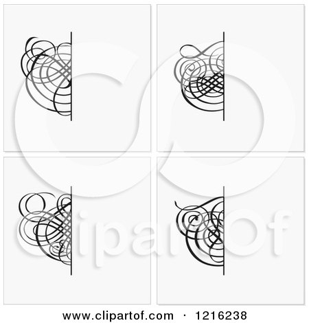 Clipart of Beige Wedding Invitations with Black Swirls - Royalty Free Vector Illustration by BestVector