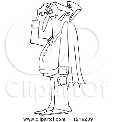 Clipart of an Outlined Confused Halloween Dracula Vampire Scratching His Head - Royalty Free Vector Illustration by djart