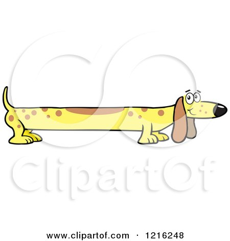 Clipart of a Long Yellow Dog - Royalty Free Vector Illustration by Johnny Sajem