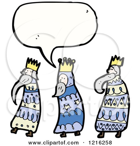 Cartoon of Three Wise Men Speaking - Royalty Free Vector Illustration by lineartestpilot