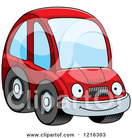 Clipart of a Smiling Red Compact Car Character - Royalty Free Vector Illustration by Cory Thoman