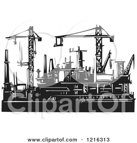 Clipart of Woodcut Cranes and Rigs in Black and White - Royalty Free Vector Illustration by xunantunich