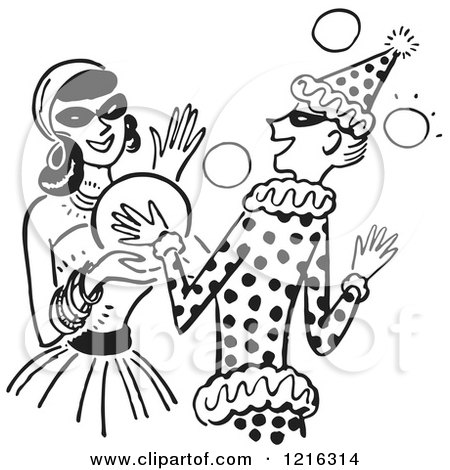 Cartoon of a Young Couple Dancing at a Halloween Costume Party, in Black and White - Royalty Free Vector Clipart by Picsburg