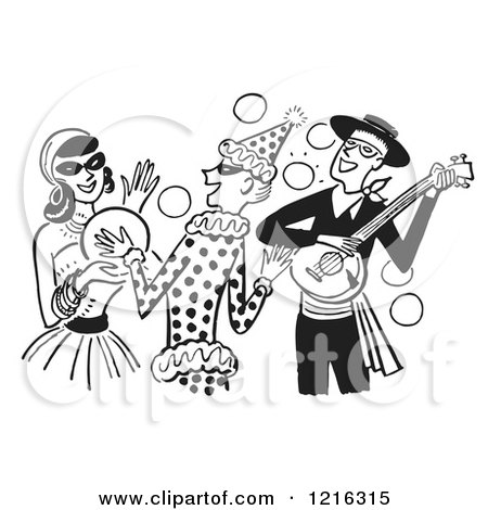 Cartoon of a Banjo Player Gypsy and Clown Having Fun at a Halloween Costume Party, in Black and White - Royalty Free Vector Clipart by Picsburg