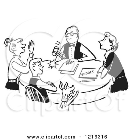 Cartoon of a Retro Happy Family Having a Meeting About the Budget, in Black and White - Royalty Free Vector Clipart by Picsburg