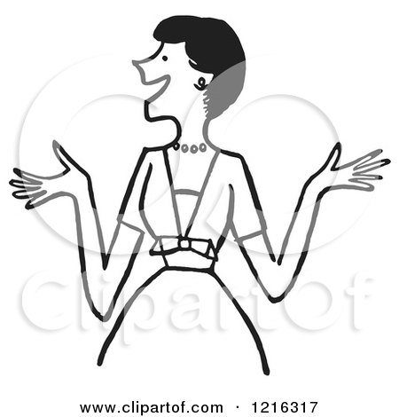 Cartoon of a Retro Outgoing Happy Lady Expressing Excitement or Making Introductions, in Black and White - Royalty Free Vector Clipart by Picsburg