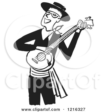 Cartoon of a Retro Man Smiling and Playing a Banjo, in Black and White - Royalty Free Vector Clipart by Picsburg