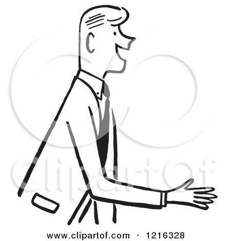 Retro Salesman or Gentleman Reaching out to Shake Hands During an Introduction, in Black and White Posters, Art Prints