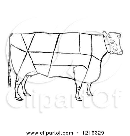 Retro Clipart of a Vintage Cow Showing the Cuttings of Beef - Royalty Free Vector Illustration by Picsburg