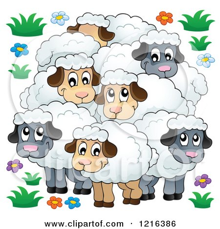 Clipart of a Happy Flock of Sheep - Royalty Free Vector Illustration by visekart