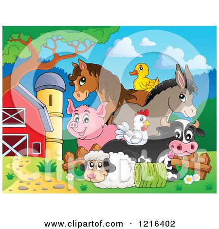 Clipart of a Happy Duck Horse Donkey Pig Chicken Cow and Sheep with Hay in a Barnyard - Royalty Free Vector Illustration by visekart