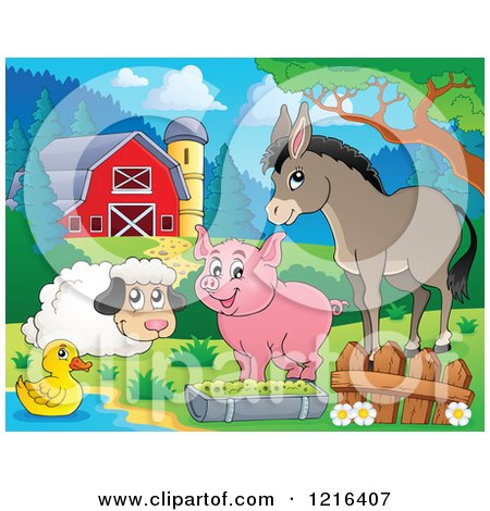 Clipart of a Happy Duck Sheep Pig and Donkey by a Puddle in a Barnyard - Royalty Free Vector Illustration by visekart