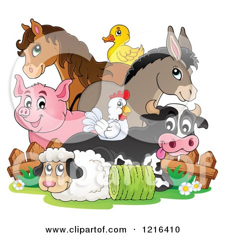 Clipart of a Happy Chicken Horse Donkey Pig Duck Cow and Sheep by a Fence - Royalty Free Vector Illustration by visekart