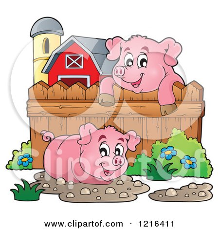 Cartoon Pig In Mud Puddle