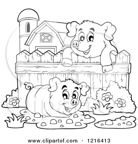 pig in mud coloring pages - photo#27