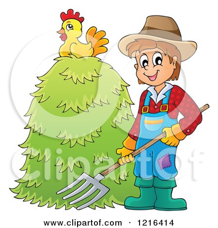 Clipart of a Happy Farmer Holding a Pitchfork by a Pile of Hay with a Chicken on Top - Royalty Free Vector Illustration by visekart