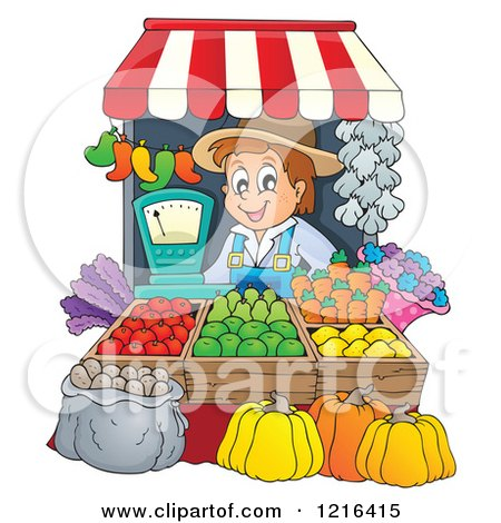 Clipart of a Happy Farmer Selling Produce at a Stand - Royalty Free Vector Illustration by visekart