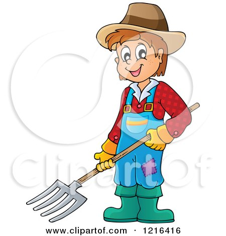 Clipart of a Happy Farmer Boy Holding a Pitchfork - Royalty Free Vector Illustration by visekart