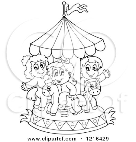 Clipart of Outlined Children Playing on a Carousel - Royalty Free Vector Illustration by visekart