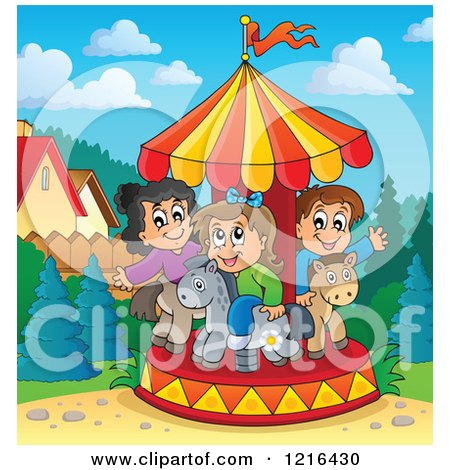 Clipart of Kids Playing on a Carousel - Royalty Free Vector Illustration by visekart