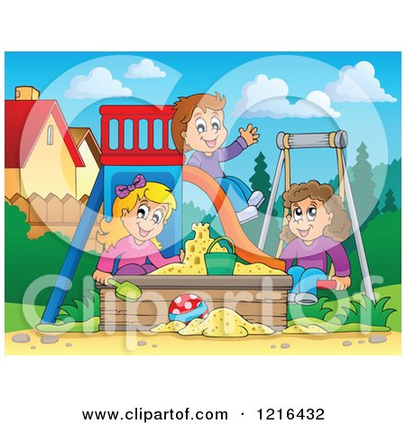 Clipart of Children Playing on a Swing Slide and in a Sandbox - Royalty Free Vector Illustration by visekart