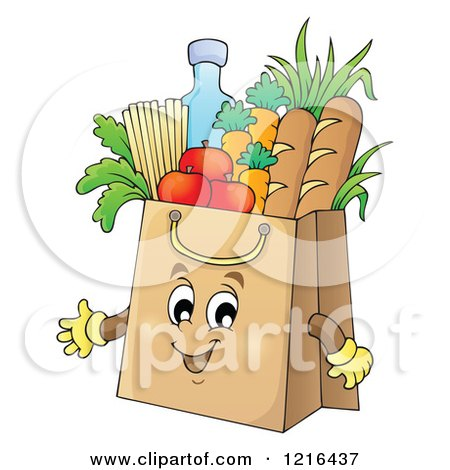 Clipart of a Grocery Bag Mascot Full of Food - Royalty Free Vector Illustration by visekart