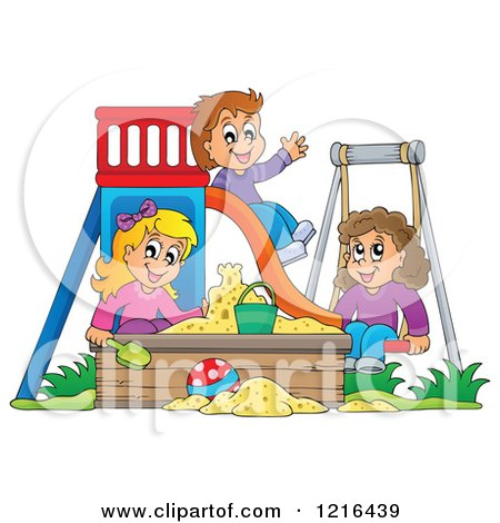 Clipart of Happy Children Playing on a Swing Slide and in a Sandbox - Royalty Free Vector Illustration by visekart
