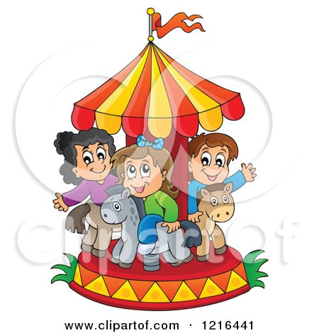 Clipart of Children Playing on a Carousel - Royalty Free Vector Illustration by visekart