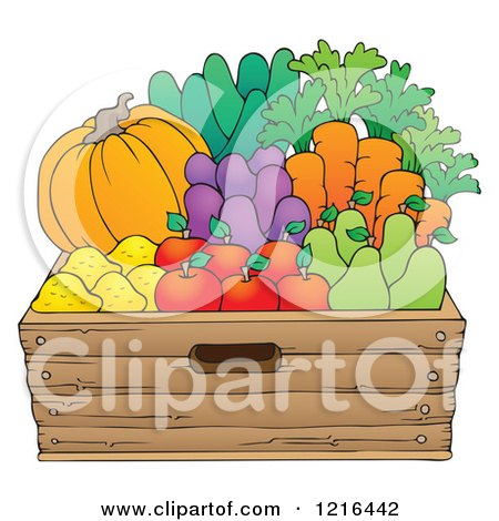 Clipart of a Wood Container Full of Fresh Produce - Royalty Free Vector Illustration by visekart