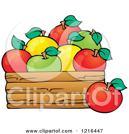 Clipart of a Bushel of Red Yellow and Green Apples - Royalty Free Vector Illustration by visekart