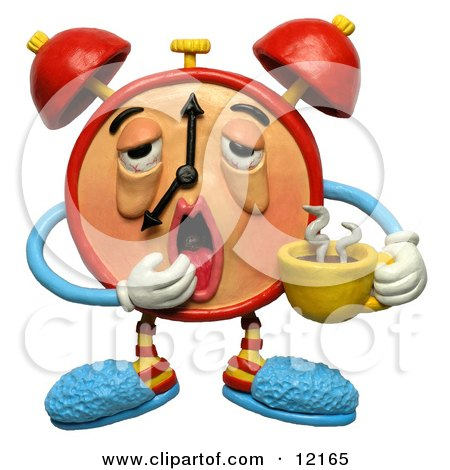 Clay Sculpture Clipart Sleepy Alarm Clock Yawning And Holding Coffee - Royalty Free 3d Illustration  by Amy Vangsgard