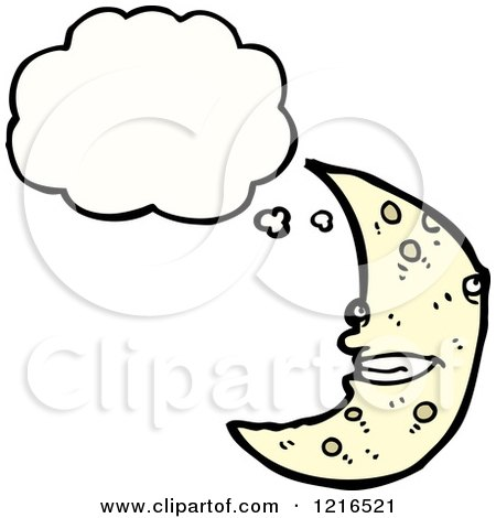 Cartoon of a Moon Thinking - Royalty Free Vector Illustration by lineartestpilot