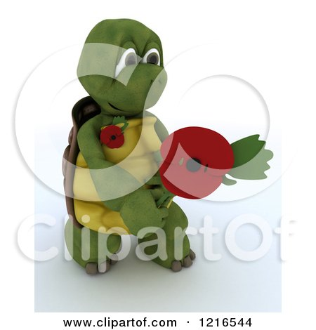 Clipart of a 3d Tortoise Holding out a Poppy in Rememberance - Royalty Free Illustration by KJ Pargeter