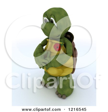 Clipart of a 3d Tortoise Wearing a Poppy in Rememberance - Royalty Free Illustration by KJ Pargeter