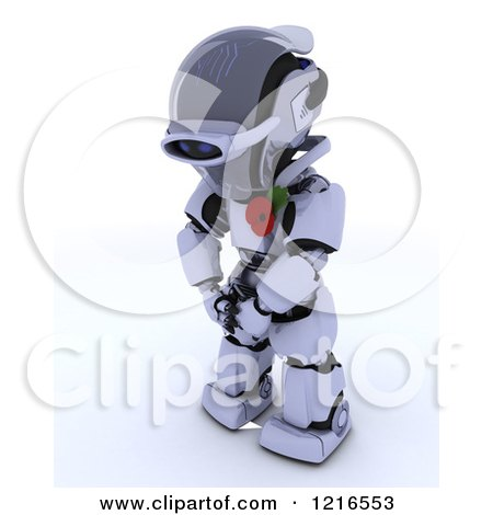 Clipart of a 3d Robot Wearing a Poppy in Rememberance - Royalty Free Illustration by KJ Pargeter