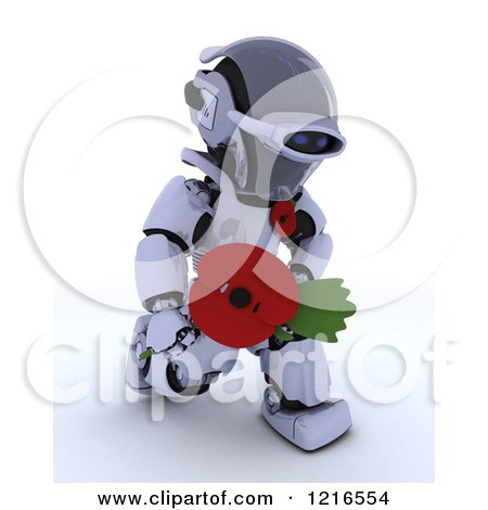 Clipart of a 3d Robot Holding out a Poppy in Rememberance - Royalty Free Illustration by KJ Pargeter